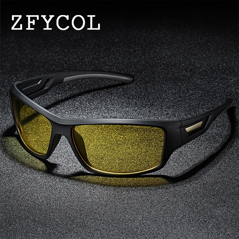 ZFYCOL New Brand Fashion Polarized Sunglasses Men TR90 Frame Travel Night Vision Sun Glasses For Male Driving Golfing Eyewear