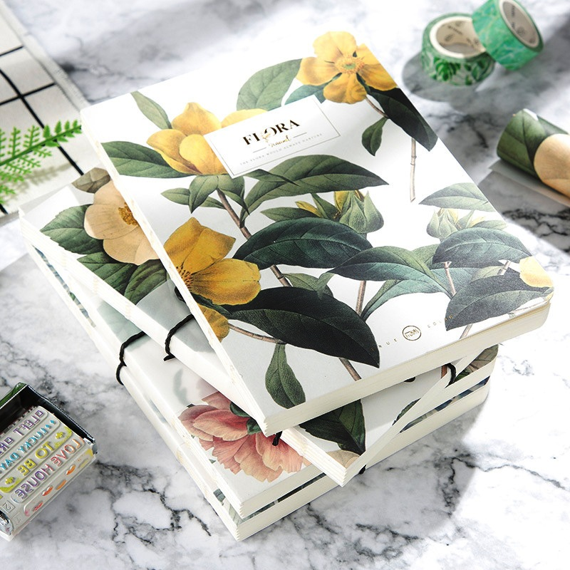 Flora Beautiful Sketchbook Blank Papers Freenote Study Diary Drawing Notepad Notebook Stationery Gift