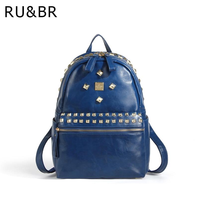 RU BR Vintage Women Backpack Leather Korean Mochila Escolar School Bag Teenagers Harajuku Mochilas Waterproof Rivet