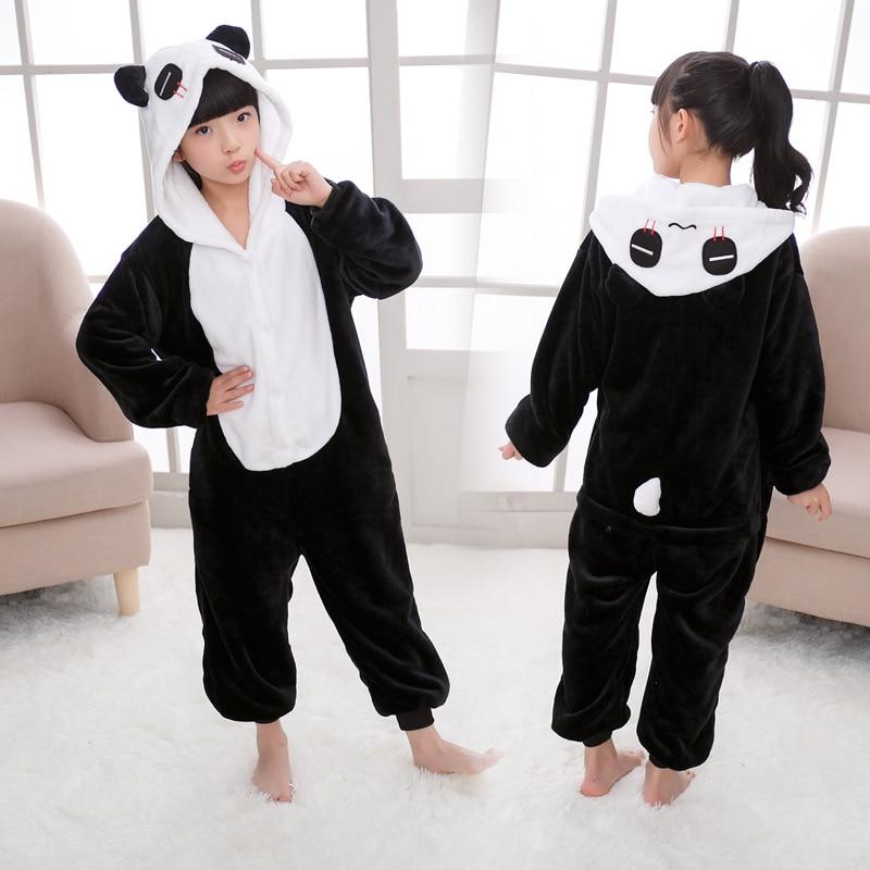 Осенне зимняя детская пижама для животных с изображением панды Кигуруми для мальчиков и девочек, цельные фланелевые костюмы для сна