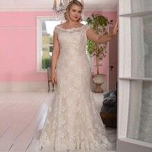 Lace Plus Size Champagne Wedding Dress Vestidos de Novia Mermaid Bridal Gowns Scoop Neck Sleeveless Robe De Mariage Lace-up Back plus scoop neck tropic print dress