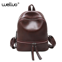Fashion Simple Women Backpack Black Brown Designer Pu Leather Solid Color Backpacks Female Travel Shoulder Bag