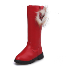 COZULMA Autumn Winter Girls Fox Knee-High Boots Kids With Fur Plush Children Leather Dress for Snow