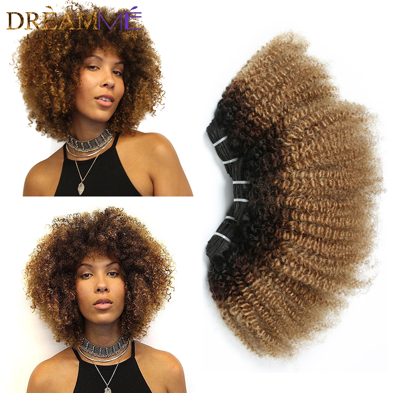 Ombre Mongolian Afro Kinky Curly Hair 3 Bundles 4B 4C 1B 4 27 Color 100 Human