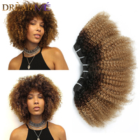 Ombre Mongolian Afro Kinky Curly Hair 3 Bundles 4B/4C 1B #4 27 Color 100% Human Hair Weave Dreaming Queen Remy Hair