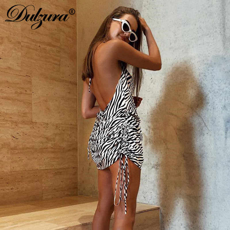 Dulzura летнее женское платье с принтом зебры, с открытой спиной, Бандажное сексуальное платье для вечеринки, праздничная одежда, элегантные платья, женские шелковые атласные платья