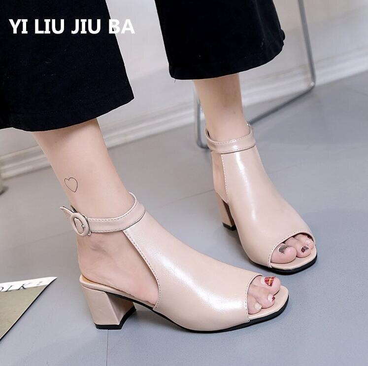 2019 Spring Hot Vintage Elegant Low Heel Women Shoes Sandals Summer Office Peep Toe PU Leather Side Zip Shoes Women Mujer **180