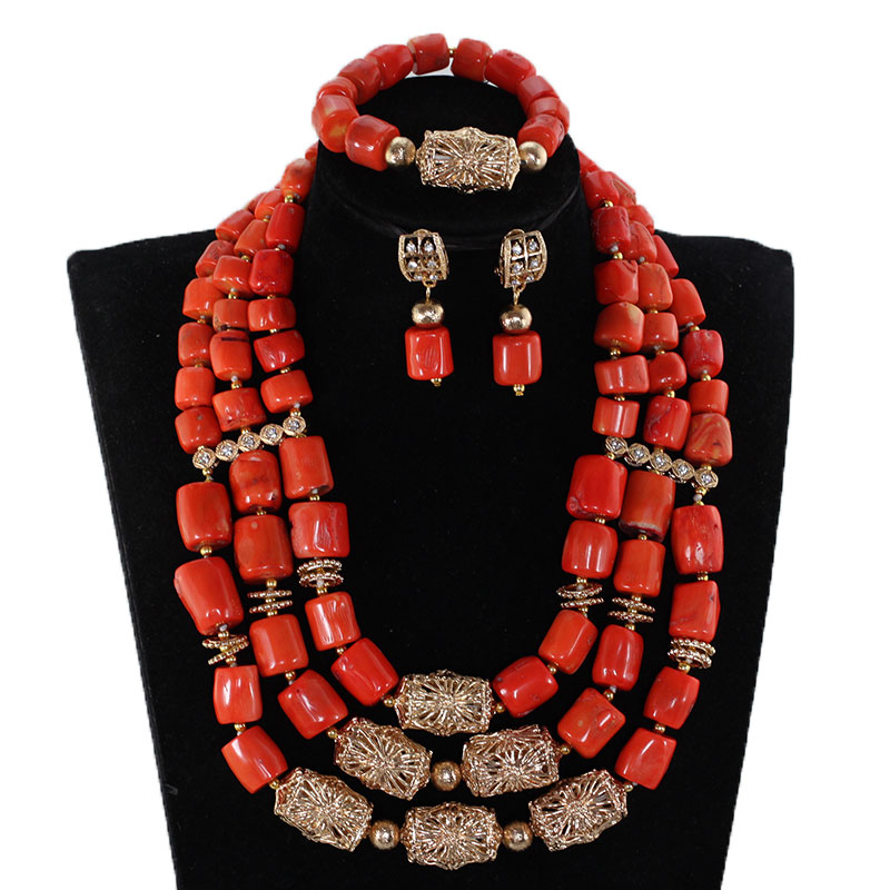 Здесь можно купить  Coral Wedding Jewelry Set African Costume Jewelry Coral Beads Bridal Necklace Sets Dubai Gold Jewelry Set Gift Free Ship CG065  Ювелирные изделия и часы
