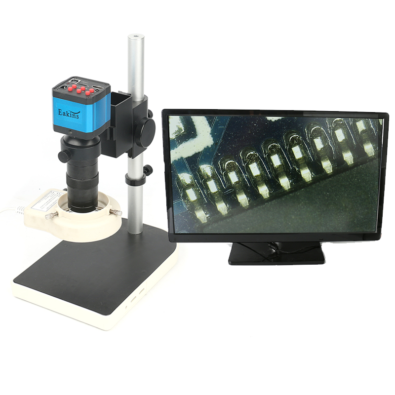14MP CMOS HDMI Microscope Camera For Industry Lab PCB USB Output TF Card Video Recorder + C-mount Lens + 56 LED Light + Stand hd usb digital industry video inspection microscope camera hdmi set tf card video recorder 8x 130x c mount zoom lens