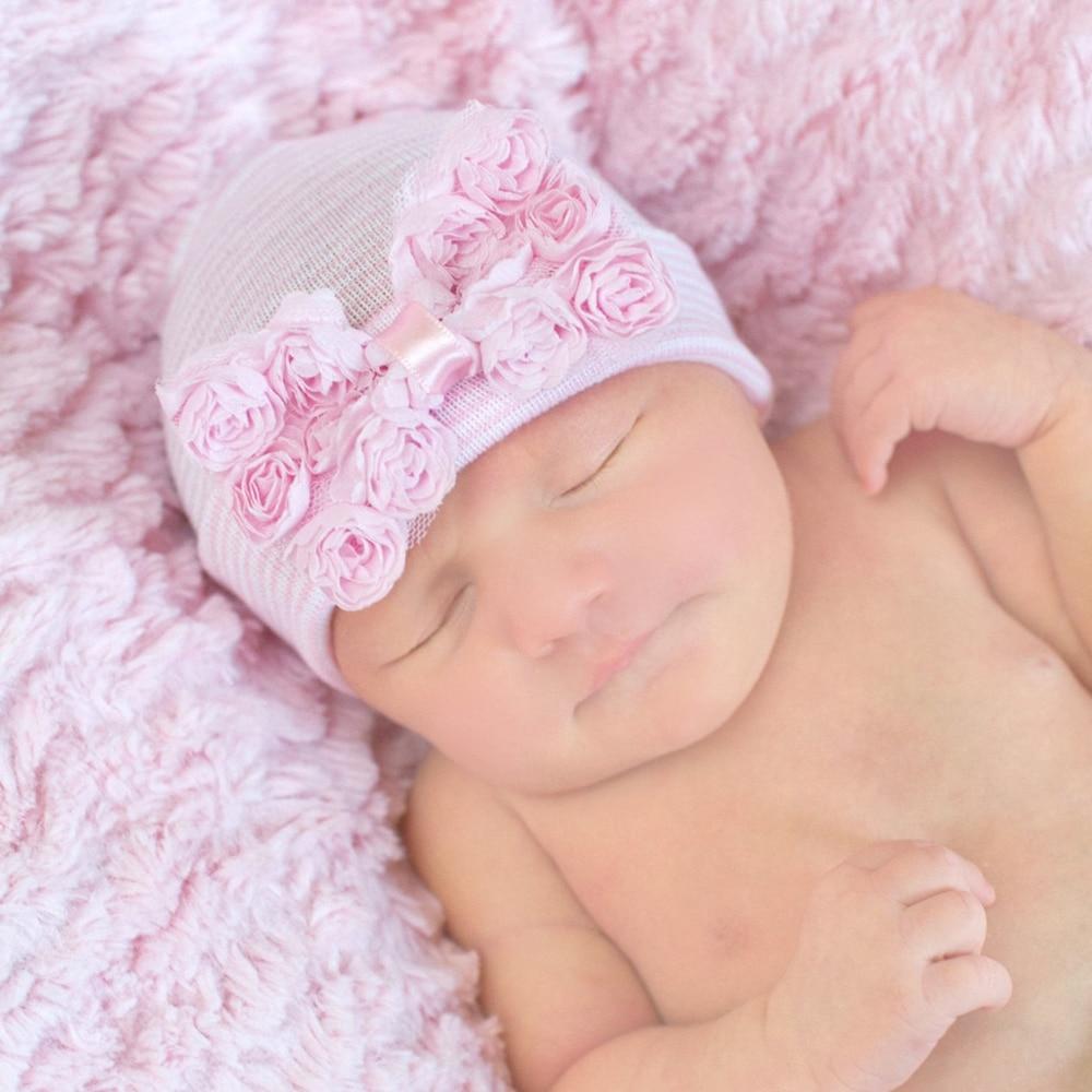 Розовая и синяя детская Младенческая шапочка, шапочка для больницы, детская шляп с цветами для шляп, лучший подарок для новорожденных, детск...