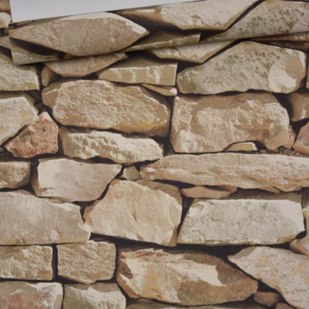 10m 53cm Retro 3d Effect Brick Stone Wall Sticker