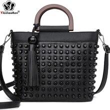 ファッションシープスキンレザーの女性のハンドバッグ高級リベット女性ハンドバッグトートバッグ有名なブランドのメッセンジャー女性のためのクロスボディバッグ