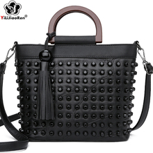 Moda skóra owcza kobiet torebki luksusowe nit panie torebki dużego ciężaru torby znanych marek torby kurierskie crossbody dla kobiet