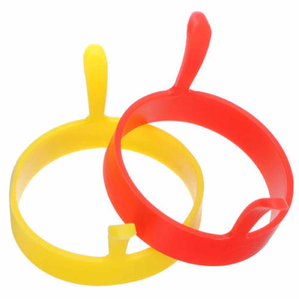Rodada de silicone Ovo Anéis Anel W Alças Antiaderente Frito Fritura Panqueca Molde Acessórios de Cozinha Gadgets Mold Cozinha 0.483