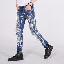 Мужчина личность промывочной воды джинсы дракон печати 100% хлопок эластичные дышащие тонкие прямые цветочные брюки