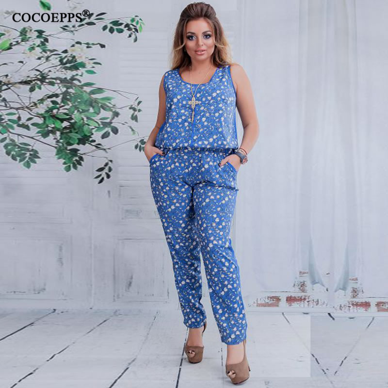 cdc3d71fc473 5XL 6XL Plus Size Summer Women Jumpsuit 2018 Floral print Sleeveless Casual Jumpsuits  Rompers Female Big Size Jumpsuits Playsuit
