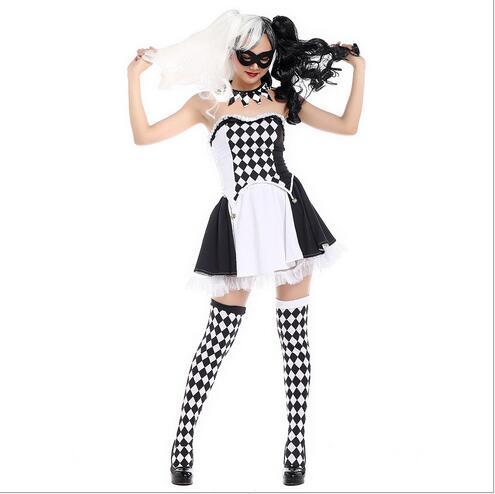2372859da Harley Quinn Traje Do Palhaço de Circo Das Mulheres Preto Branco Cosplay  Carnaval Halloween Trajes Top