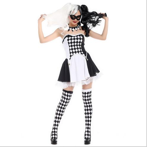 56fb6bb00 (PHC009) Multicolor Clown Zentai Suits White Skull Hoods Striped Stockings  Jumpsuit Romper Halloween Cosplay Costume