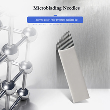 10pcs Microblading Needle 14 pin Permanent Makeup Accessories Tattoo Supplies Disposable Tattoo Blades for Eyebrow Eyeliner Lip