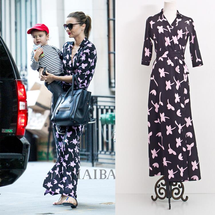 76b45cc452678 US $38.91 25% OFF|Aliexpress.com : Buy Miranda Kerr Dress 2019 Summer Beach  Wear Women V Neck Cropped Sleeve Print Maxi Wrap Dress from Reliable maxi  ...