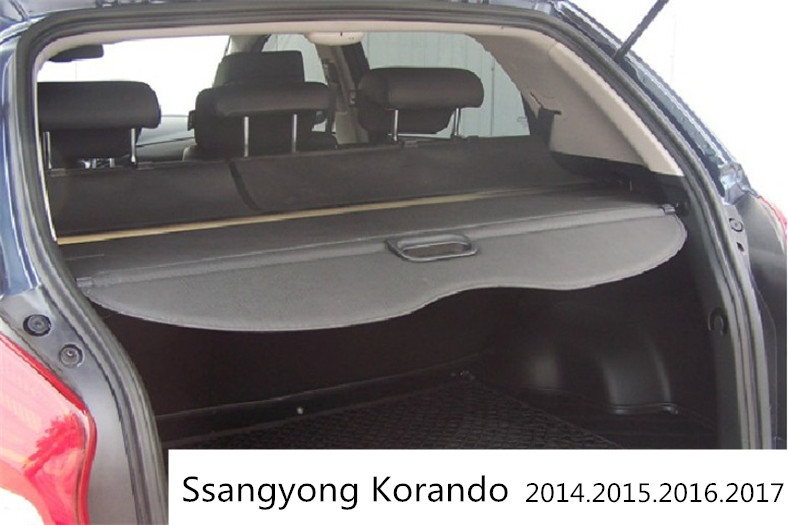 Car Rear Trunk Security Shield Cargo Cover For Ssangyong Korando 2014.2015.2016.2017 High Qualit Black / Beige Auto Accessories car rear trunk security shield shade cargo cover for toyota highlander 2009 2010 2011 2012 2013 2014 2015 2016 2017 black beige