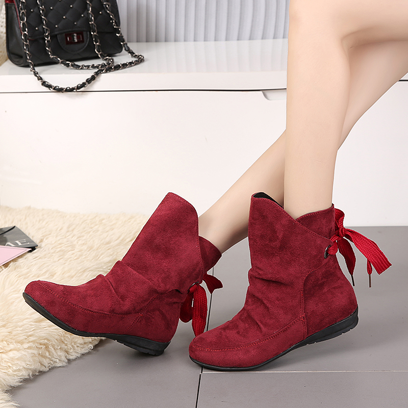 Caoutchouc Plate Faux Femme Grand Chaudes La red 36 black Plus Hee Bottines Beige Xwx6891 En Hiver Suede forme Rond Bottes Chaussures Femmes Taille 43 Bout n7WwCYzq
