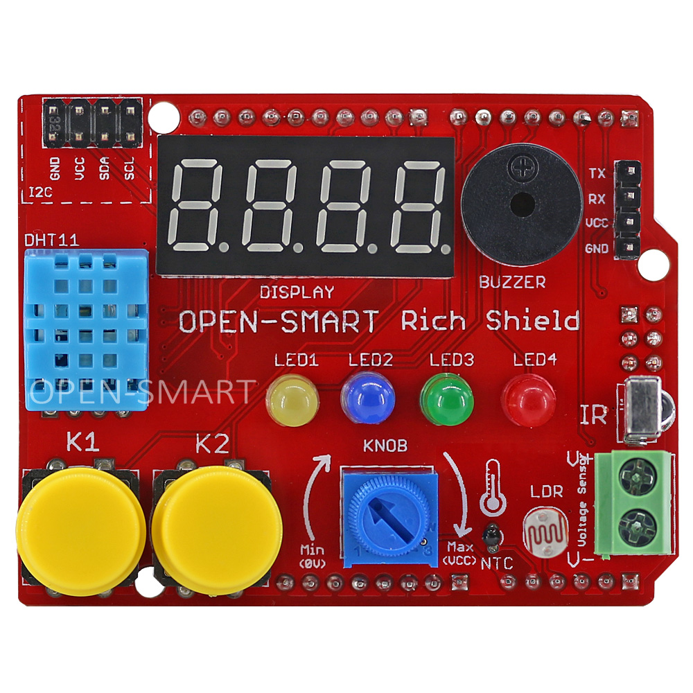 Starter Kit Rich Shield With Infrared Receiver LED Buzzer Button DHT11 Light Sensor Temperature Sensor Module For Arduino UNO R3