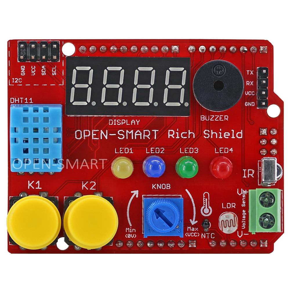 Starter kit Rich Shield with Infrared Receiver LED Buzzer Button DHT11 Light Sensor Temperature Sensor Module for Arduino UNO R3