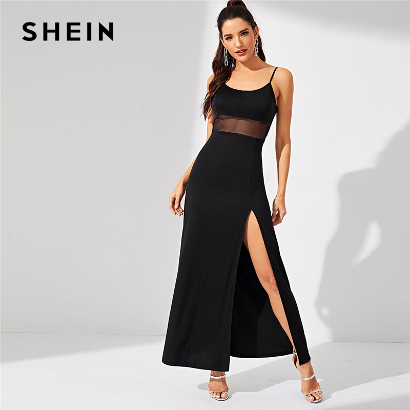 SHEIN Black Split Solid Cami Stretchy Spaghetti Strap Bodycon Long Dress Women Summer Sleeveless Going Out Casual Dresses