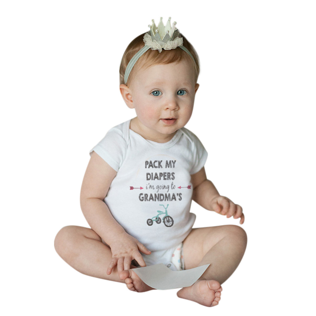SZYADEOU Infant Toddler Baby Jumpsuit Summer Romper Baby Girls Boys Meisje Clothes Outfits Set Letters Bike Grandma Baby боди L5