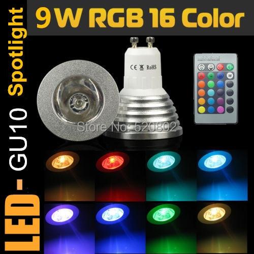 1pcs RGB LED Bulb 9W GU10 E27 E14 MR16 B22 16 Color Change Lamp spotlight 85-265V with IR Remote led spot Free shipping