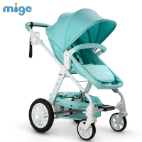 High view Folding Stroller for 0 36 Months Baby Sitting & Lying, Two way Pushchair Pram, Pneumatic & Suspension Wheels