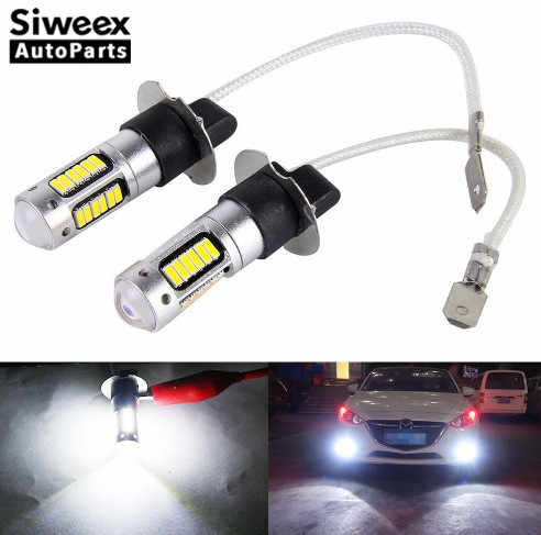2Pcs H3 H1 W5W 6500K Wit 25W 4014 Chips 30 Smd High Power Led Fog Light Koplamp lampen Lamp Lens Dc 12V