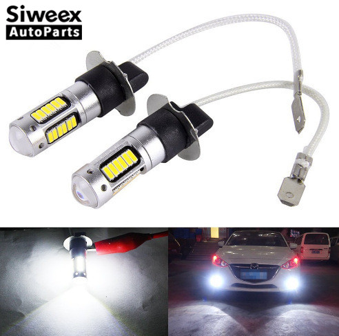2Pcs H3 H1 W5W 6500K White 25W 4014 Chips 30 SMD High Power LED Fog Light Headlight Lamps Bulb Lens DC 12V