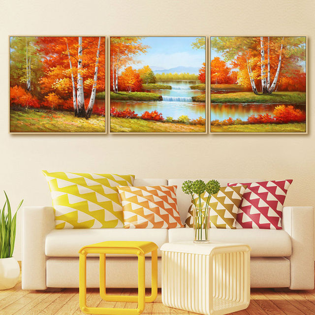 Golden season hand painted oil paintings 3 pic wall art home ...