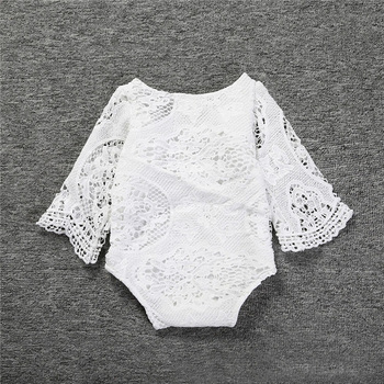 Baby Girls Ruffles Sleeve White Lace Romper 1
