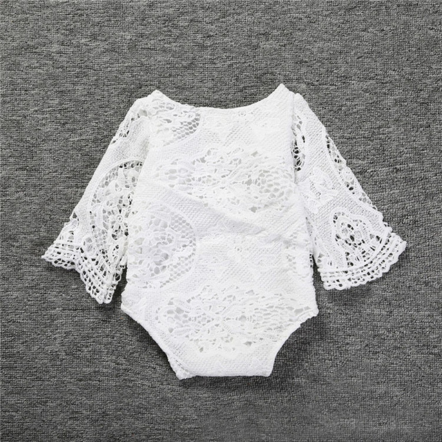 Baby Girls Ruffles Sleeve White Lace Romper 1