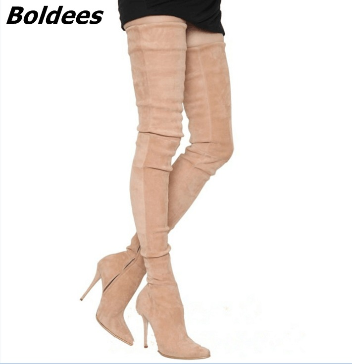 Simply Beige Suede Stiletto Heels Over The Knee High Boots Fancy Women Pointed Toe Slim Fit Thigh High Boots Celebrities in Same simply beige suede stiletto heels over the knee high boots fancy women pointed toe slim fit thigh high boots celebrities in same