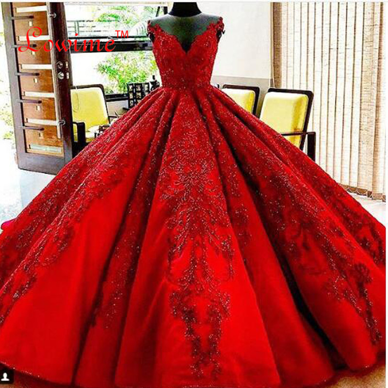 Red Ball Gown Wedding Dresses: Newest Sexy Red Princess Ball Gown Wedding Bridal Bride