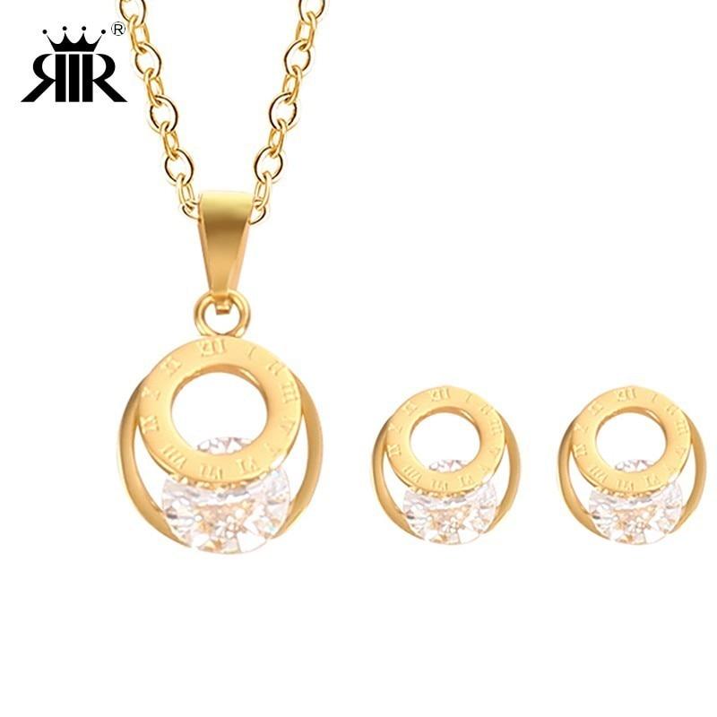 RIR új divat kerek kristály ékszer medál nyaklánc készlet rozsdamentes acél magas polírozott egyszerű kristály medálok nyakláncok  t