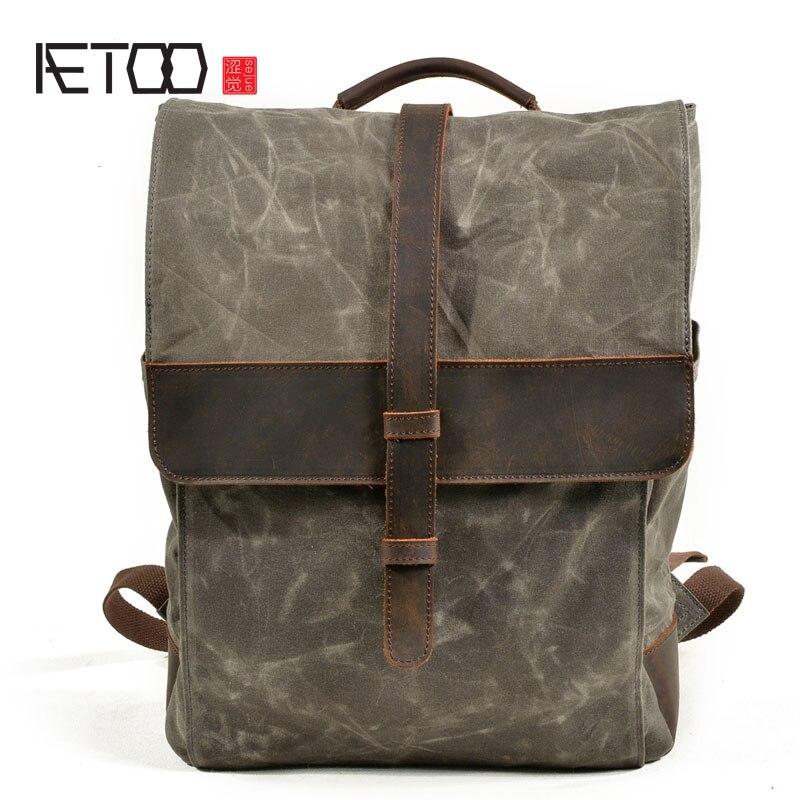 AETOO Vintage toile hommes sac de grande capacité voyage sac à dos mâle étanche huile cire toile sac à dos étudiant sac