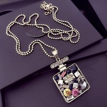 Exquisite Rhinestone Crystal Rectangle Square Perfume Bottle Longevity Lock Pendant Necklace Women Sweater chain Long Necklace цена 2017