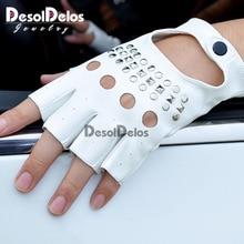 1 Pair Black PU Leather Fingerless Gloves Solid Female Half Finger Driving Women Fashion Punk Mittens