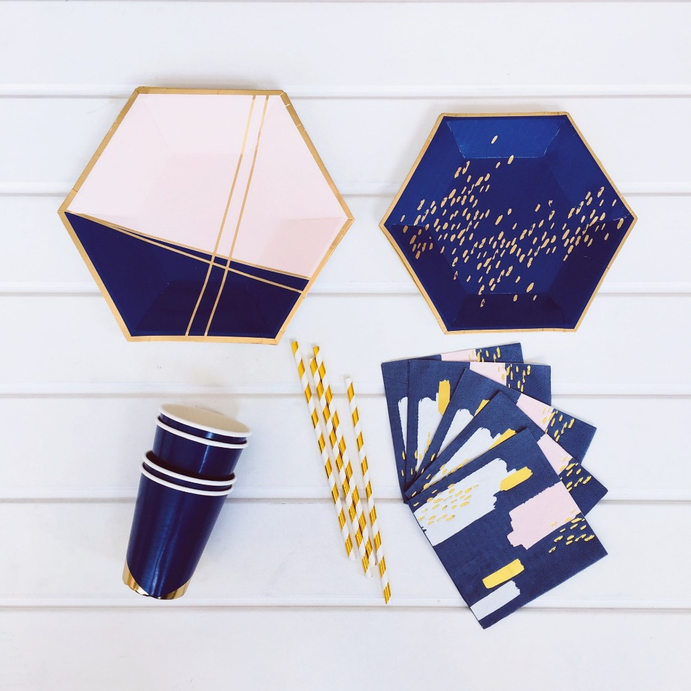 Navy Blue Pink Foil Party Supplies Disposable Tableware Lattice Paper Plate Cups Napkins For Boy Baby Birthday Baptism  Decor