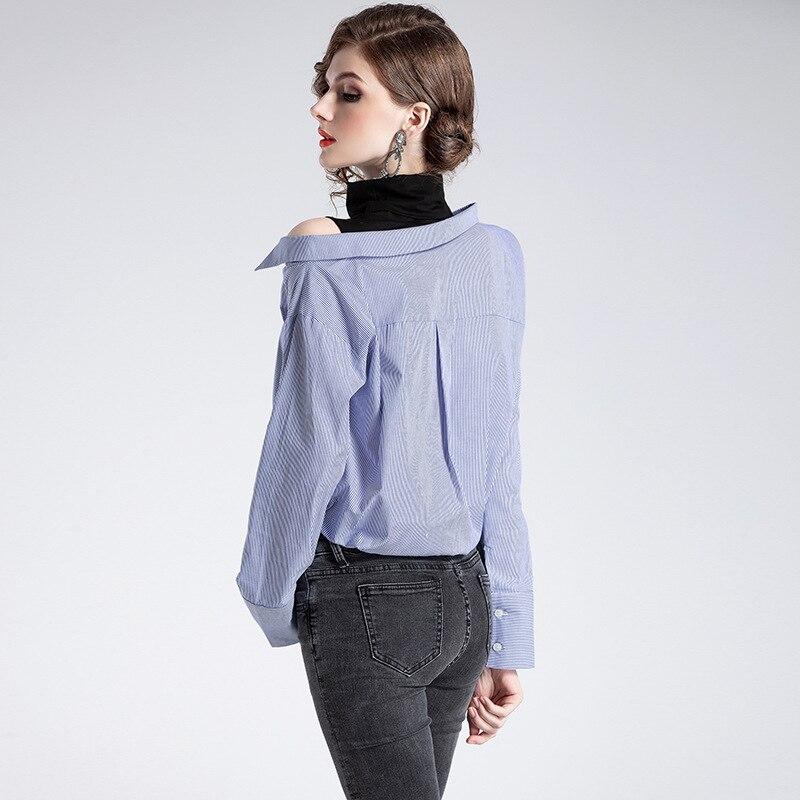 De Las 2019 Azul Estilo Tops La Diseño Vestido Primavera Verano Estación Y Nuevo Blusa Mangas Mujeres Q800639 Europa Original Simple Camisa SOY1wrqS8