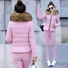 2018 winter women's cotton and down jacket coat suits female fashionable cotton jacket coat +cotton pants two-piece sets