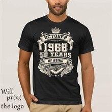 1968 50 anos de idade camisa do vintage estampado t camisa uomo manica corte o-collo del cotone