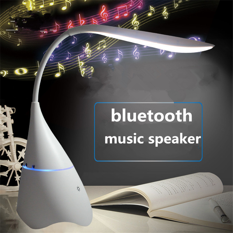 Stereo Wireless Table Lamp USB Rechargeable Bluetooth Speaker Light Reading Lamp Eye Protection Lamp Speaker for Student Bedroom|Desk Lamps| |  - title=