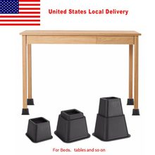 8Pcs Non-slip Cabinet Furniture Table Leg Feet Black Rubber Chair Floor Protector Cover Plastic Pads(China)