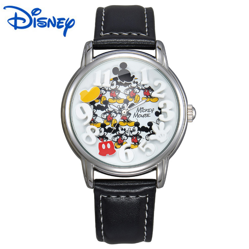 online buy whole disney watches from disney watches disney watch mens watches top brand luxury gold black leather strap quartz mickey mouse watch fashion